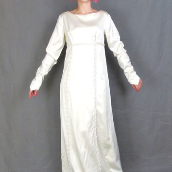 3bac7598c965 1960s Satin Wedding Gown Long Sleeve Wedding Dress Sequin Empire