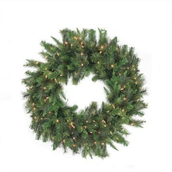 "48"" Pre-Lit Canyon Pine Artificial Christmas Wreath - Clear Lights"