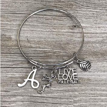 Personalized Volleyball Bangle Bracelet with Letter Charm