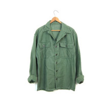 Vintage 70s Army Shirt Worn In Military Shirt Drab Green Army Jacket 80s Grunge Punk Hipster Top Vintage Womens Small Medium