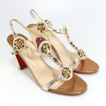 Christian Louboutin 39.5 Kaleitop 85mm DouDou Gold Spikes Sandals Heels A373