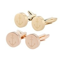 Anchor Round Cuff Links