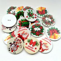 35mm Popular Mixed 10Pcs Christmas Tree Pattern Wooden Decorative Buttons Fit Scrapbooking Crafts