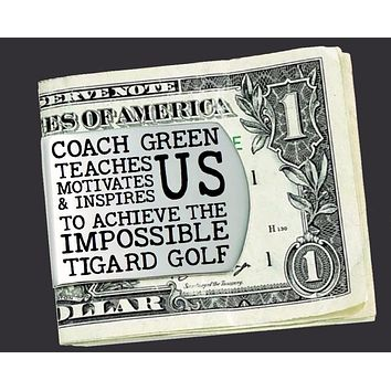 Golf Coach Personalized Money Clip