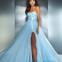 Mac Duggal Prom 2013- Strapless Ice Blue Gown With Floral Design - Unique Vintage - Prom dresses, retro dresses, retro swimsuits.