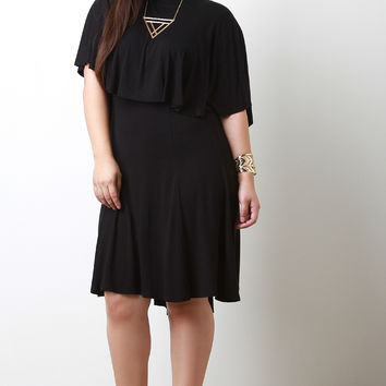 Cape Tier Mock Neck Dress