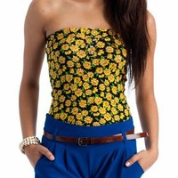 sunflower print tube top $8.70 in BLACKYLLW REDYELLOW ROYALYLLW - Sleeveless | GoJane.com