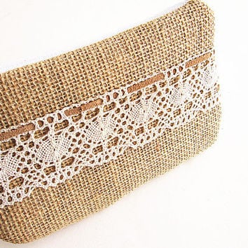 Burlap wristlet burlap clutch bridal cluth bridesmaid clutch- Lace.