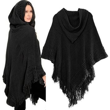 Women Knit Batwing Top Poncho With Hood Cape Cardigan Coat Sweater Outwear