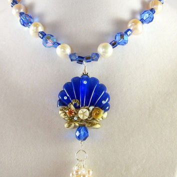 Nautical Blue Crystal and White Pearl Seashell  Pendant Necklace