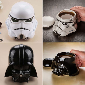 2017 New Creative Black White Knight 3D Ceramic Mug Star Wars Porcelain Drinking Mug for Coffee Water Novelty Drinkware Gift