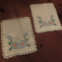 Vintage Hand Embroidered Floral Doilies with Hand Crocheted Lace on Cotton Linen