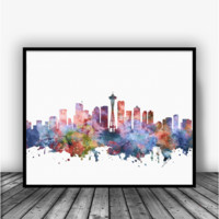 Seattle Skyline Art Print Poster