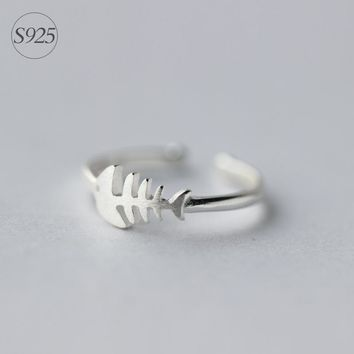 Real. Sterling Silver JEWELRY Adjustable Fish bone Ring Openable Solid. 925silver GTLJ759
