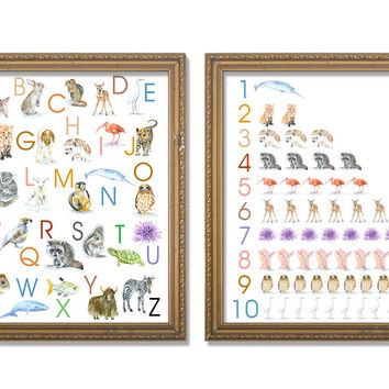 Animals Alphabet and Numbers Poster Set - Portrait
