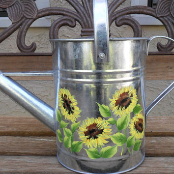 Sunflower Watering Can Hand Painted Galvanized Watering Can