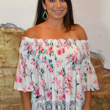 Timeless Floral Off the Shoulder Top