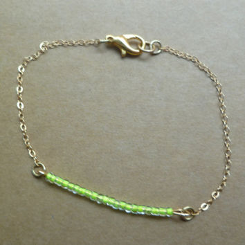 Neon yellow simple beaded bracelet by littlepancakes on Etsy