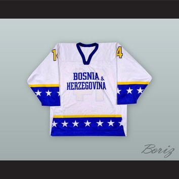 Muamar Dzamalija 14 Bosnia & Herzegovina National Team White Hockey Jersey