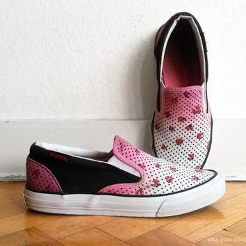 pink ombre and ladybug print converse slip on sneakers upcycled vintage shoes pink