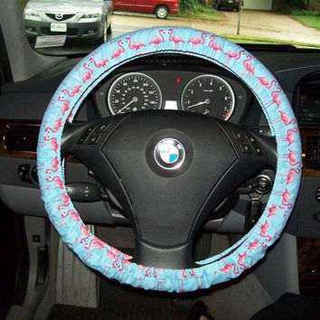 Pink Flamingos On Blue Steering  Wheel Cover