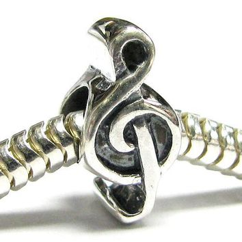 Queenberry (Free S/H) Sterling Silver Music Note Treble Clef Melody Bead For Pandora Troll European Story Charm Bracelets