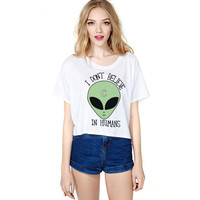 Causal Aliens Print  T-Shirt