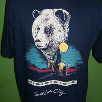 Vintage Dark Blue T Shirt Polar Bear Salt Lake City From 80's