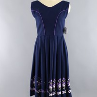 Vintage Blue Dress with Purple Floral Embroidery