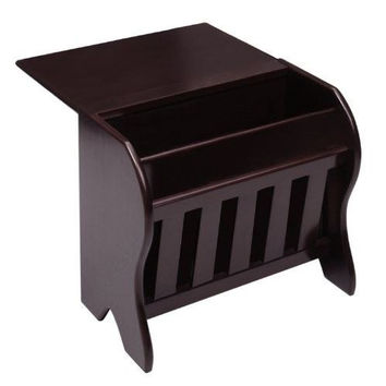 Wood Magazine Rack Drop Leaf Table Dark Espresso Organizer Storage File Book New