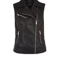 Black Leather-Look Biker Gilet