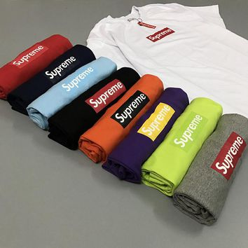 Supreme Box Logo Print Crewneck Unisex Tee Cotton T-shirt