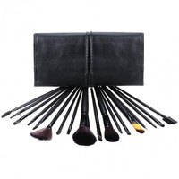 18 PCS Professional Makeup Cosmetic Brushes Set Tools With Leather Like Ties Case