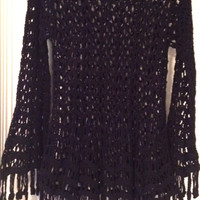 Vivienne Tam   Vintage Crochet Open Knit Long Sleeve Sweater / Cover Up