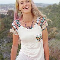 Aztec Tribal Women's Pocket Tee // Boho Clothing - Boho Tee Shirt // Bohemian Top - Tribal Shirt // Street Wear - Mint Green Shirt