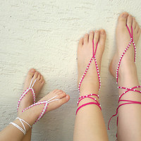 Set of 2 Mom daughter barefoot sandals, crochet barefoot sandals for sisters,shoes accessories, baby sandals, gift for her, mothers day gift