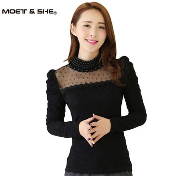Women's Autumn Pearl Stand Collar Lace Crochet Blouse Shirts Plus size M-XXL New New Long Sleeve Sexy Tops For Women T57220