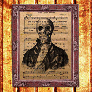 Captain skull print Vintage anatomy decor Steampunk poster Music sheet illustration