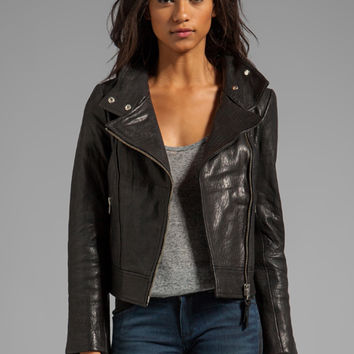 Mackage Lisa Pebble Leather Jacket in Black from REVOLVEclothing.com