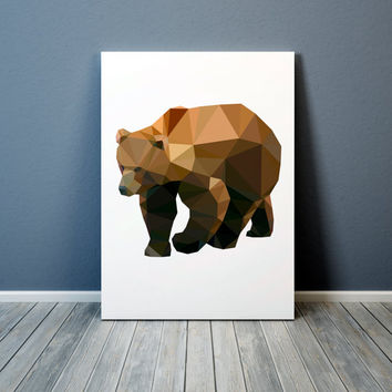 Colorful decor Grizzly bear print Animal poster Modern art TO302-1