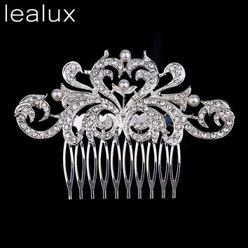 Lealux Leaf Crystal Combs Bridal Vintage Wedding Barrettes Jewelry Hair Accessories Piece  Crown Tiara Wedding Hair Jewelry