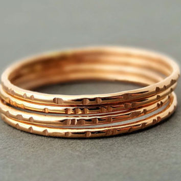 3 Rose Gold Rings three 3 stackable rings Gifts for women choose your size from 3 - 12