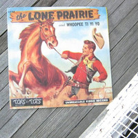 Cool Vintage Children's 78 Record; The Lone Prairie w/ Sourwood Mountain; Rare Tops for Tops Vinyl; Awesome Cowboy/Western Artwork