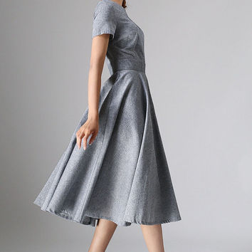 long gray dress - women long dress  maxi dress - custom made(972)