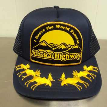 "Vintage 1980's Alaska Highway Patch Snapback Mesh Trucker Hat With Moose Design on The Brim similar to Scrambled Eggs"" Design Tourist Hat"