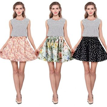Vintage Skirts Women Retro Pleated Floral Chiffon Women Skirts High Waist Midi Skirt New Sale Jupe