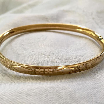Baby Bangle Bracelet, Vintage Gold Filled, Etched Baby Bracelet, Christening,  Baby Girl, First Birthday Gift