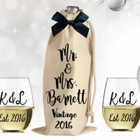 Wine Bag, Wine Gift Set, Personalized Wine Glass, Christmas Gift, Gift for Newlywed, Hostess Gift