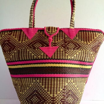 African Woven Basket. Handmade Plastic Tote. Handwoven Plastic Basket. Recycled Plastic. Upcycled Vegan Bag. Basket Bag. Summer Beach Bag.