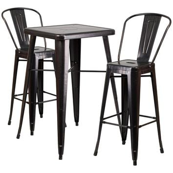 23.75'' Square Black-Antique Gold Metal Indoor-Outdoor Bar Table Set with 2 Stools with Backs [CH-31330B-2-30GB-BQ-GG]